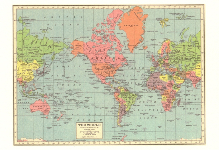 Vintage Maps - 18 The World